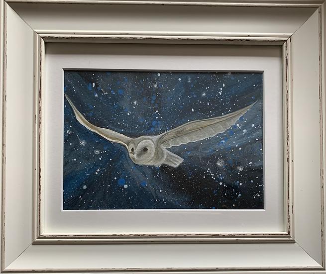 Owl ORIGINAL -  signed, mounted and framed.
