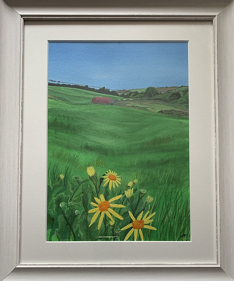 Up the field ORIGINAL - signed, mounted and framed