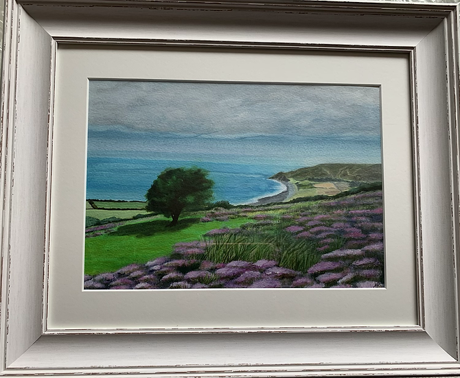Looking down over Porlock ORIGINAL - signed, mounted and framed