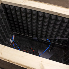 inside with mic - still need to add silent airflow to cool down tube amps. for now I just open box in between recordings. :P