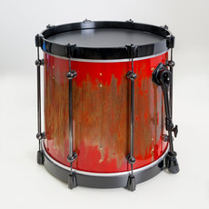 20-inch Tama Imperialstar floor tom stripped, repaired, painted and rebuilt as a bass drum with tube lugs, wood hoops, and new black spurs.