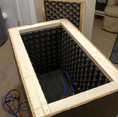 inside of finished with two layers of acoustic panels and carpet. two xlr cables, 1/4-inch cable and power box installed.