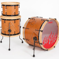 leatherclad and rivets set - 22-inch bass drum, 14-inch floor tom, 12-inch rack tom.