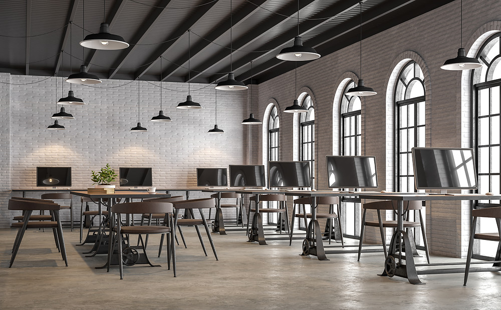 Oficina con piso semi pulido