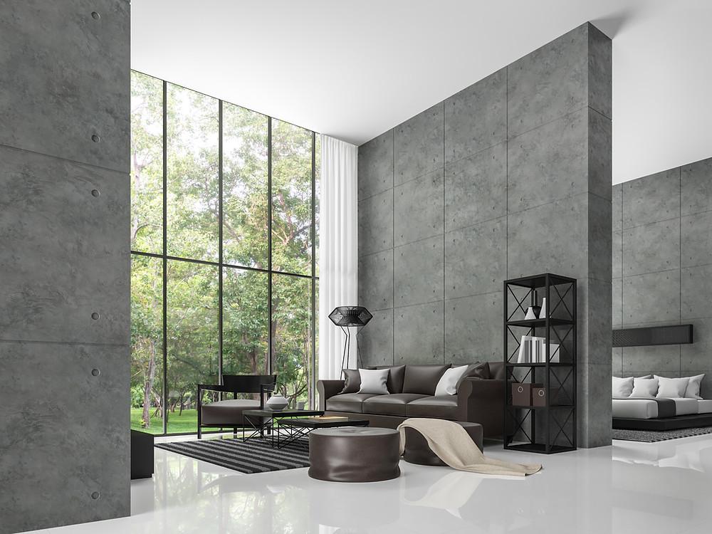 Sala de casa con piso pulido