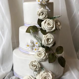 Porcelain Rose Wedding Cake