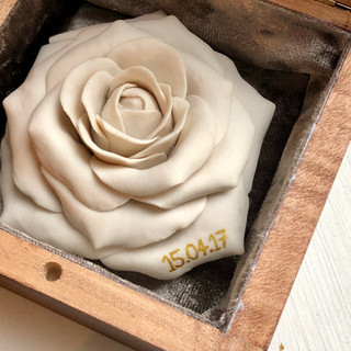 Porcelain Rose with Inscription