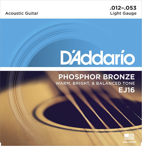 D'Addario Saitensatz Akustikgitarre Phosphorbronze, Light, .012-.053