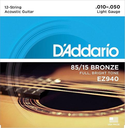 D'AddarioSaitensatz für 12-Saiter Akustikgitarren, Bronze 010'-050'