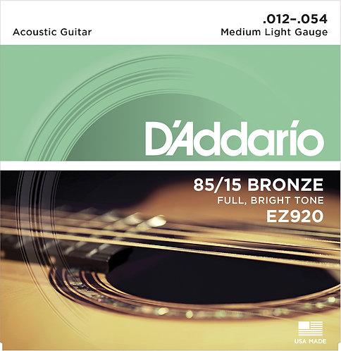 D'Addario Saiten für Akustikgitarre 85/15 Bronze, Medium Light, 12-54