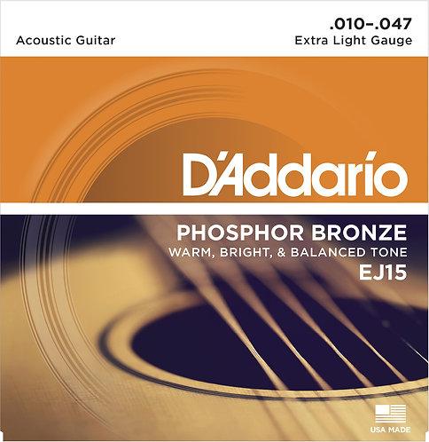 D'Addario Saitensatz Akustikgitarre Phosphorbronze, Extra Light .010-.047