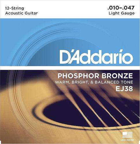 D'Addario Saitensatz 12-Saitige Akustikgitarre, Phosphorbronze, Light, .010-.047