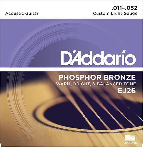 D'Addario Saitensatz Akustikgitarre Phosphorbronze, Custom Light, .011-.052