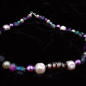 Purple and pearl necklace