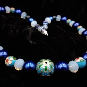 Blue cloisonne and crystal necklace