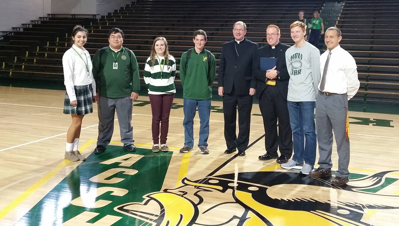 Bishop Barres blesses Rockne