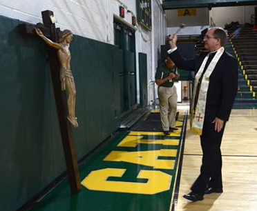 Bishop Blesses Rockne Hall