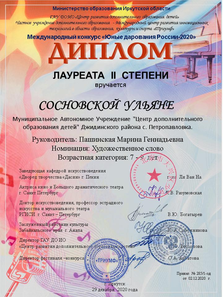 Д-2ст Меж. к. Юнные дорования Росии Сосн