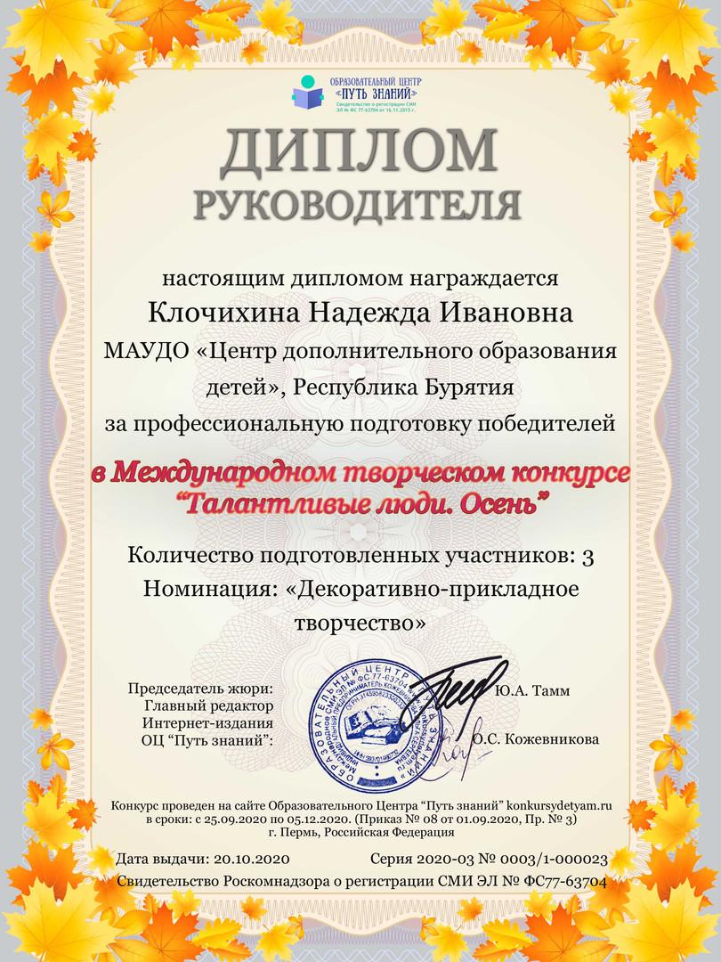 Диплом педагога Клочихина Надежда Иванов