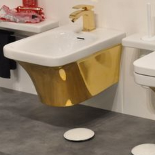 Flat white/gold wall hung Bidet