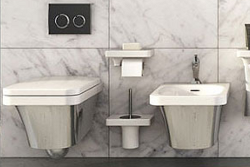 Flatsilver/white wall hung WC/Bidet