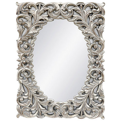 Silver Flowering Leaf Mirror