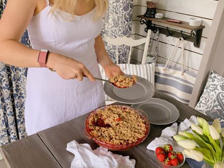 Croustade aux fraises et à la rhubarbe