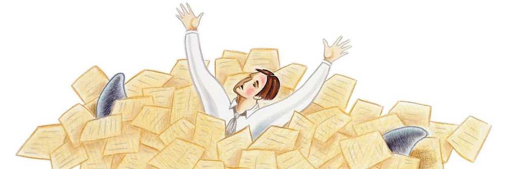 A drawn image of a person wearing a shirt and tie, drowning in a pile of papers