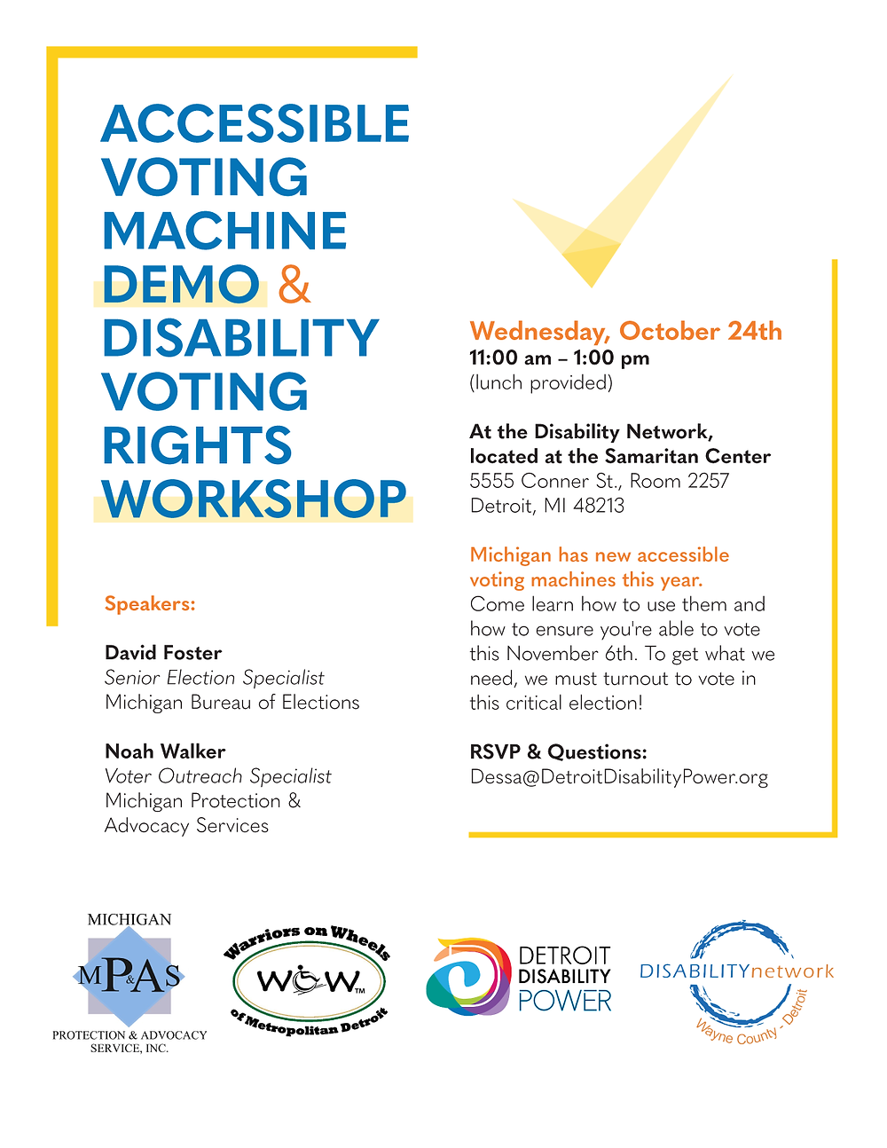 A flyer with the words Accessible Voting Machine Demo and Disability Voting Rights Workshop in blue font