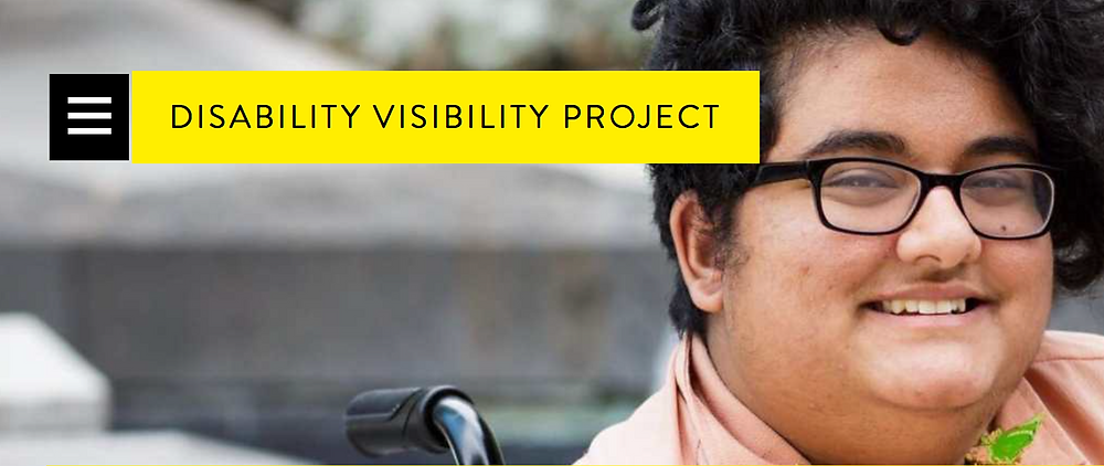 A person is smiling behind the words Disability Visibility Project.
