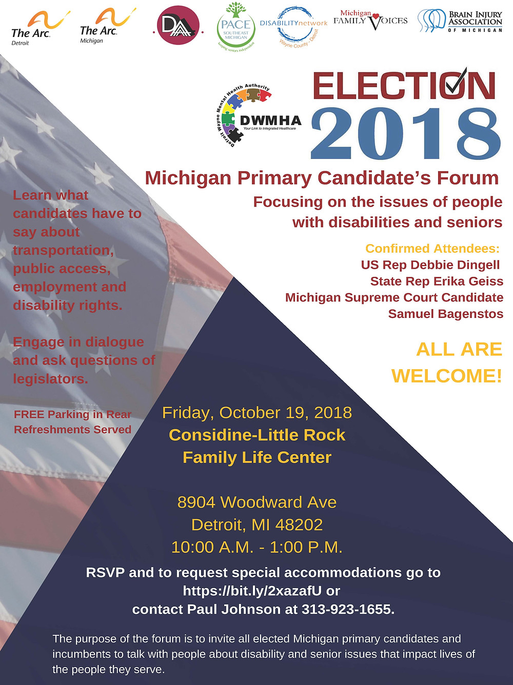 A flyer with the words Election 2018 Michigan Primary Candidate's Forum
