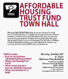 A flyer with the words Affordable Housing Trust Fund Town Hall