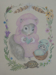 Mother Squirrel, Reading Colored Pencil