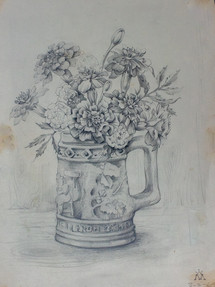 Marigolds in a Stein Pencil Sketch 1964