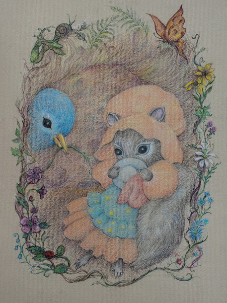Mother Squirrel and Her Helper Colored Pencil