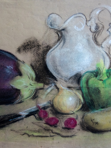 Still Life with White Pitcher Pastel on Paper 1968