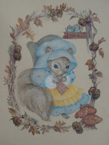 Mother Squirrel, Waiting Colored Pencil