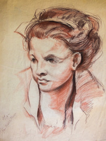 (After) Holbein Sketch Conte Crayon on Paper 1982