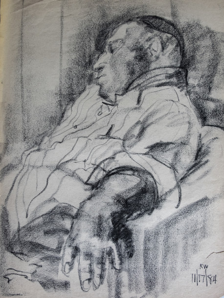 Harold Resting Charcoal on Paper 1984