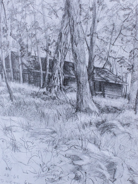 Abandoned Cabin at Harriman Pencil Sketch 1992
