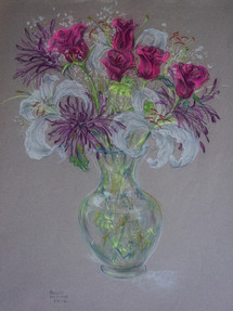 Bouquet with Lillies Pastel on Paper 2009