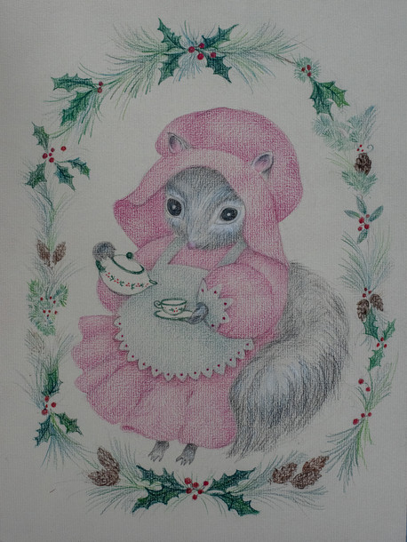 Mother Squirrel, Pouring Tea Colored Pencil