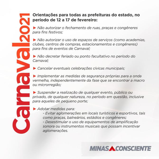 Governo de Minas publica orientações para prefeituras do Estado durante Carnaval