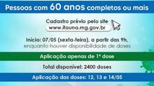 Vacinação contra a Covid-19 em Itaúna terá novas aplicações ,Cadastro para pessoas com 60 anos