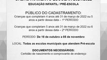 Cadastramento Escolar 2022 para a rede pública municipal de ensino acontece entre os dias18 de out