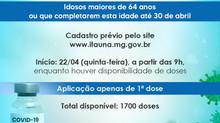 Cadastro para vacinação de Idosos maiores de 64 anos contra a Covid-19 será aberto