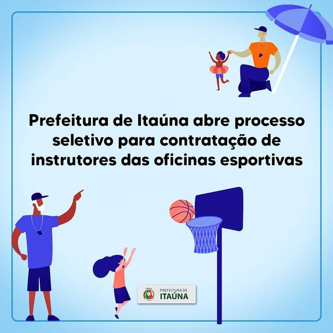 Prefeitura de Itaúna abre processo seletivo para contratação deinstrutores das oficinas esportivas