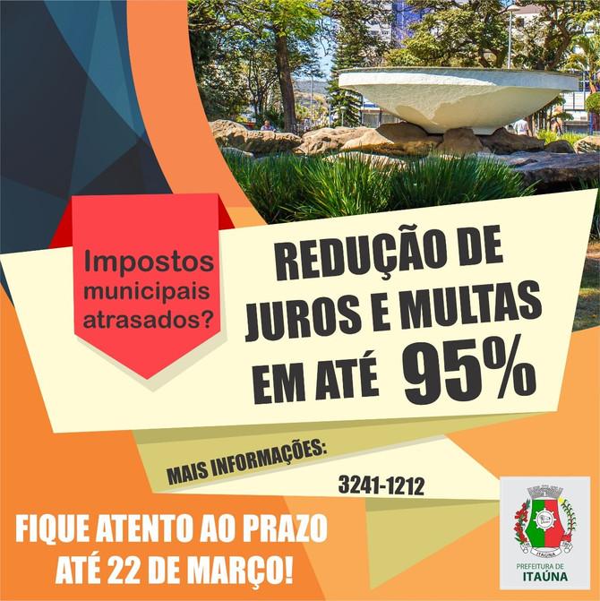 Prefeitura de Itaúna dá desconto de até 95% nos juros e multas de tributos vencidos até dezembro de