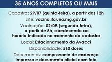 Atenção! Novo cadastro para vacinação contra Covid-19 para pessoas com 35 anos completos ou mais! Fi