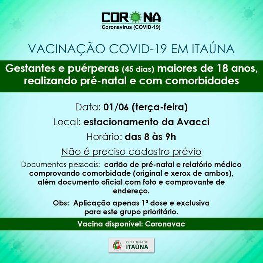 Vacinação Covid-19 para gestantes e puérperas até 45 dias após o parto em Itaúna